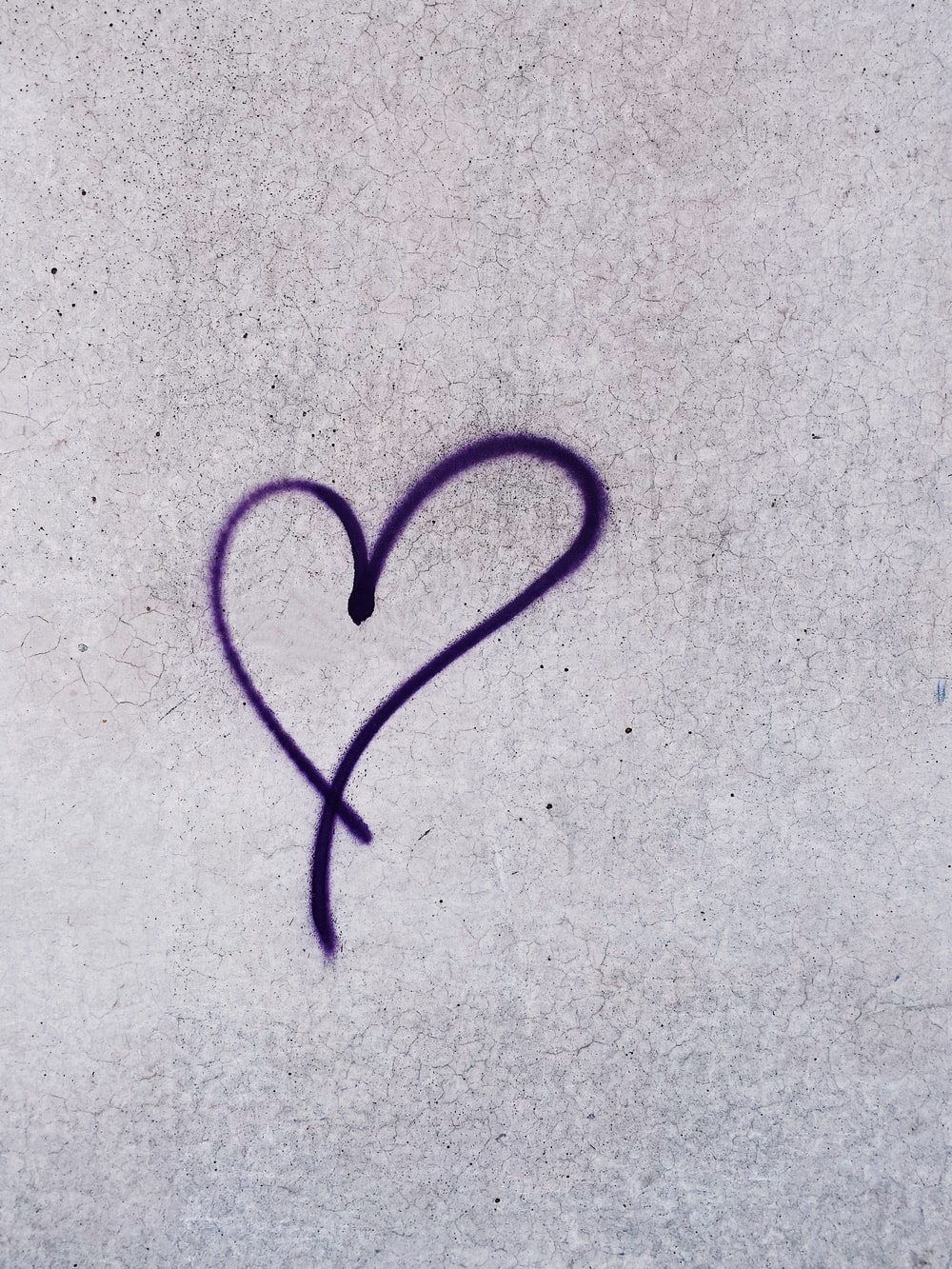 heart paint on gray wall