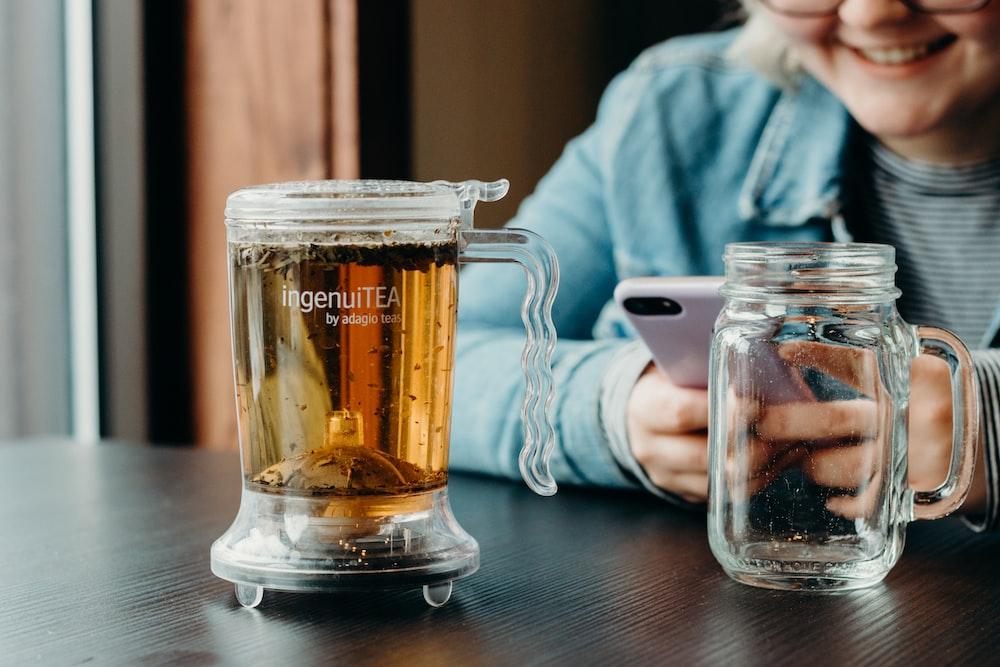 full clear beer mug on table