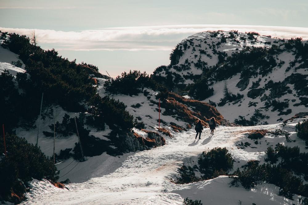 two person walking on mountain