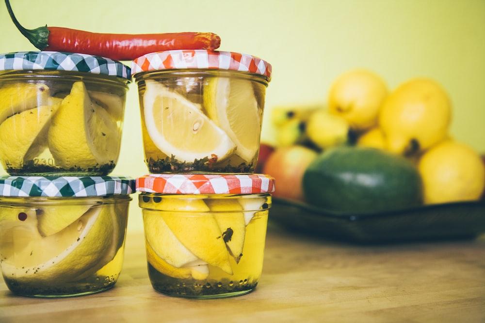 lemon inside jars
