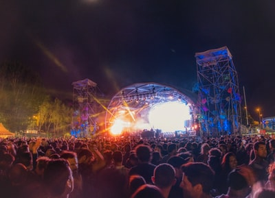 People dancing in front of stage at Paraíso Festival 2019. Madrid, Spain