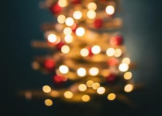 turned-on Christmas tree