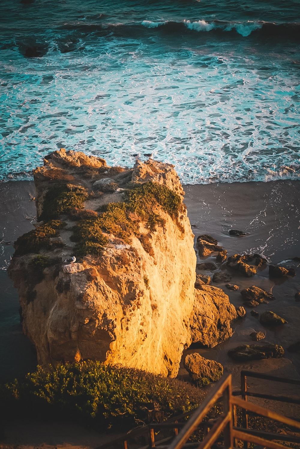 high angle photo of stone