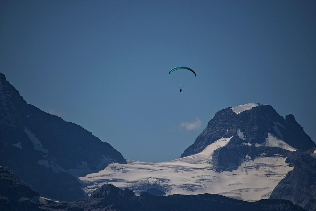 This photo of a lone paraglider was taken overlooking Grindelwald, Switzerland