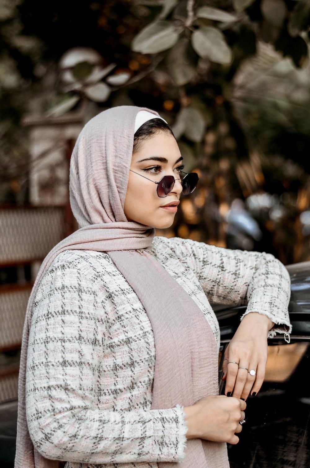 woman wearing brown hijab scarf