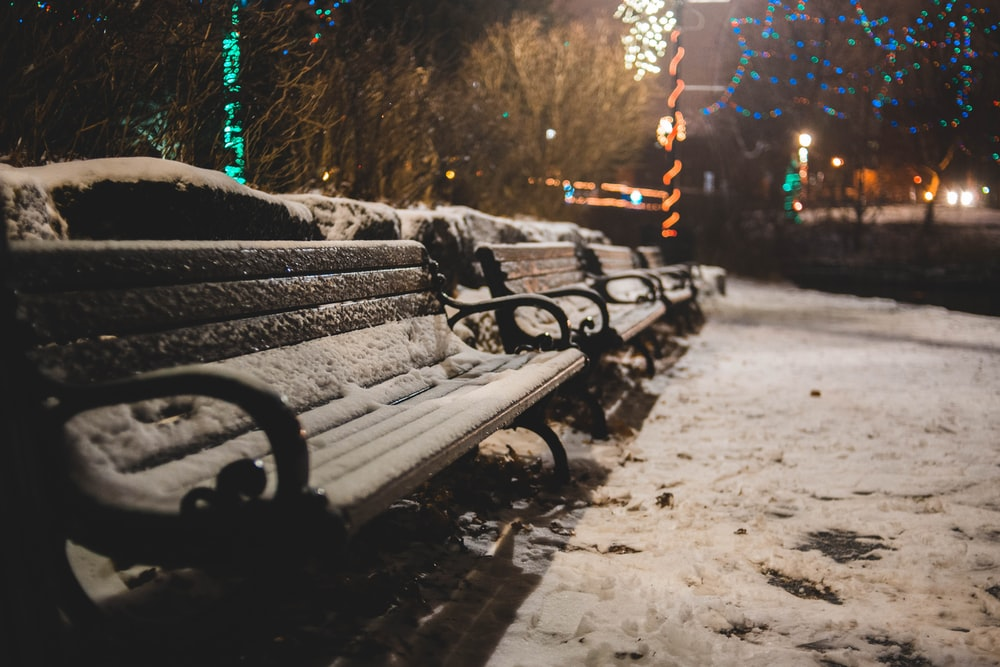 snow-covered benches