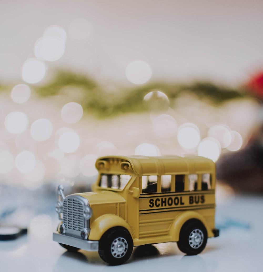 closeup photo of school bus scale model