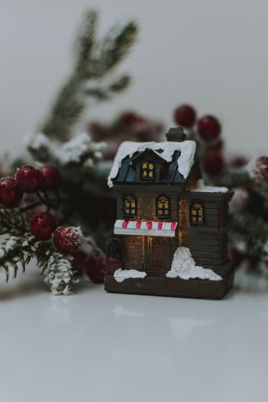 closeup photo of brown and white house miniature