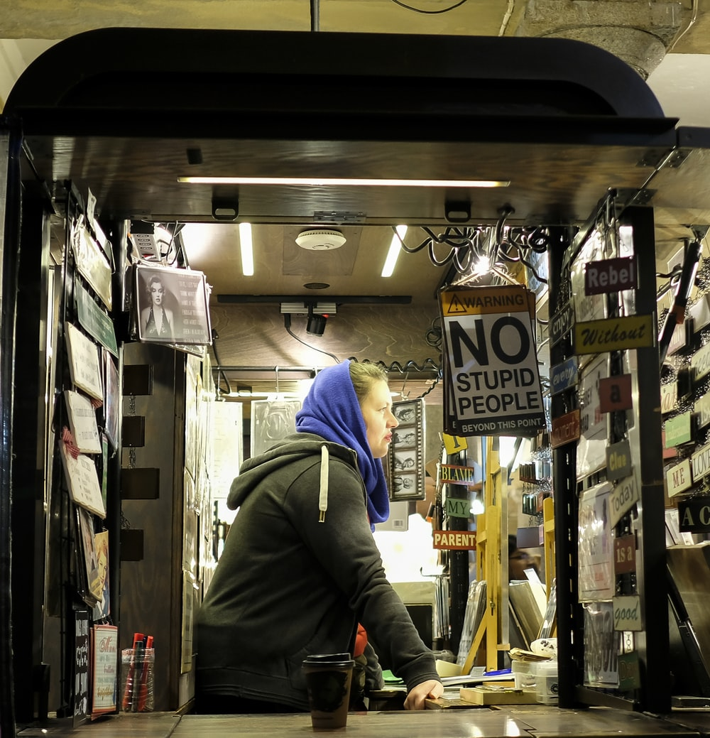 man inside store