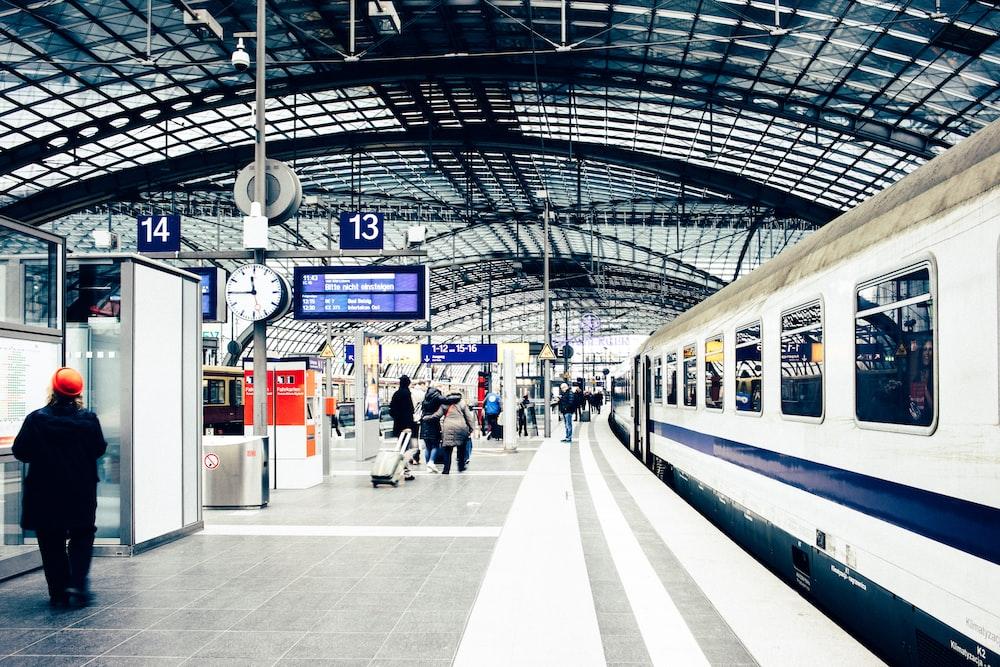 people walking inside train station
