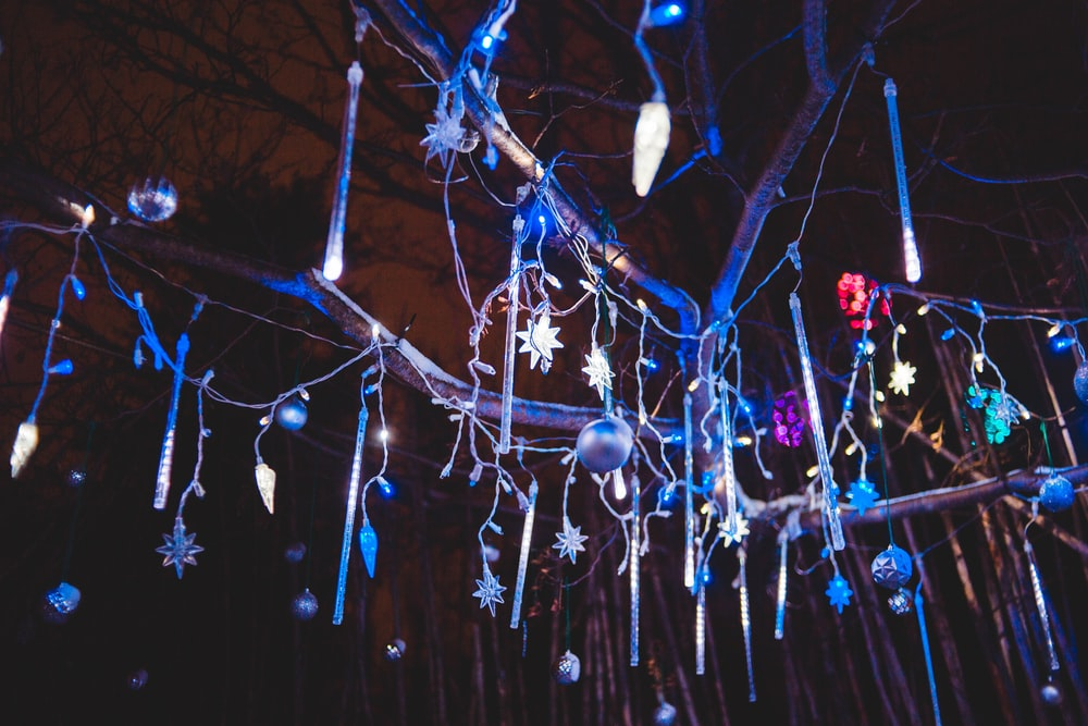 turned-on string lights at night