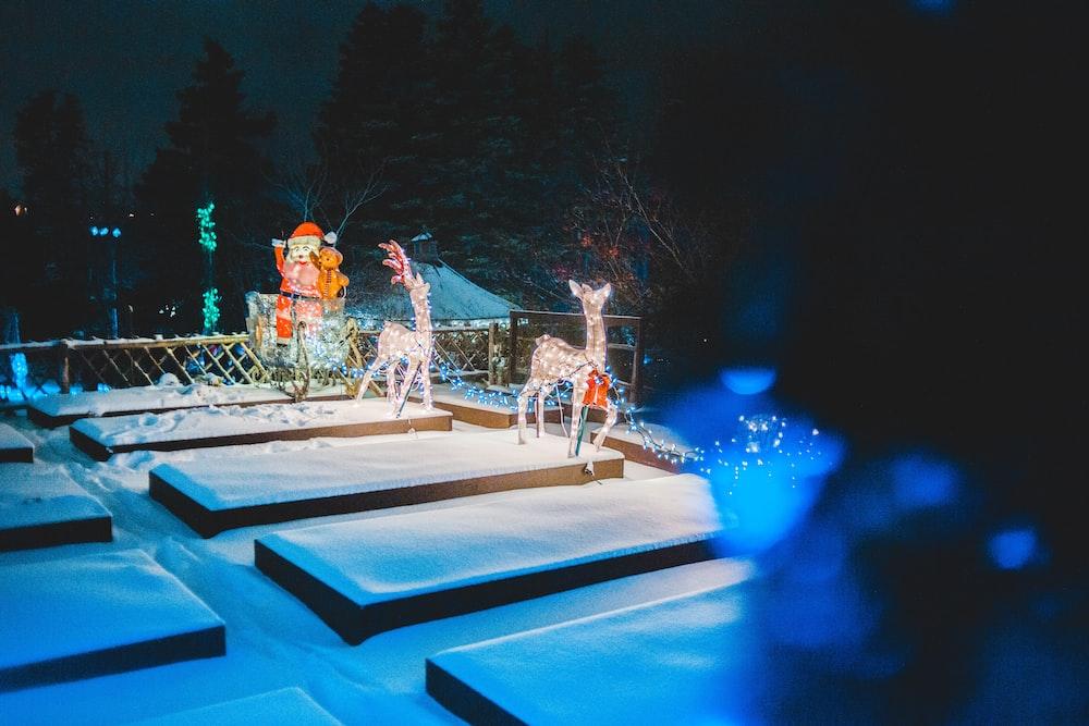 turned-on deer lights on patio at night