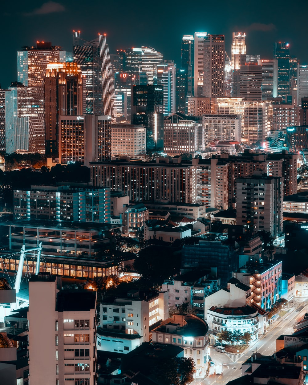 city building at night