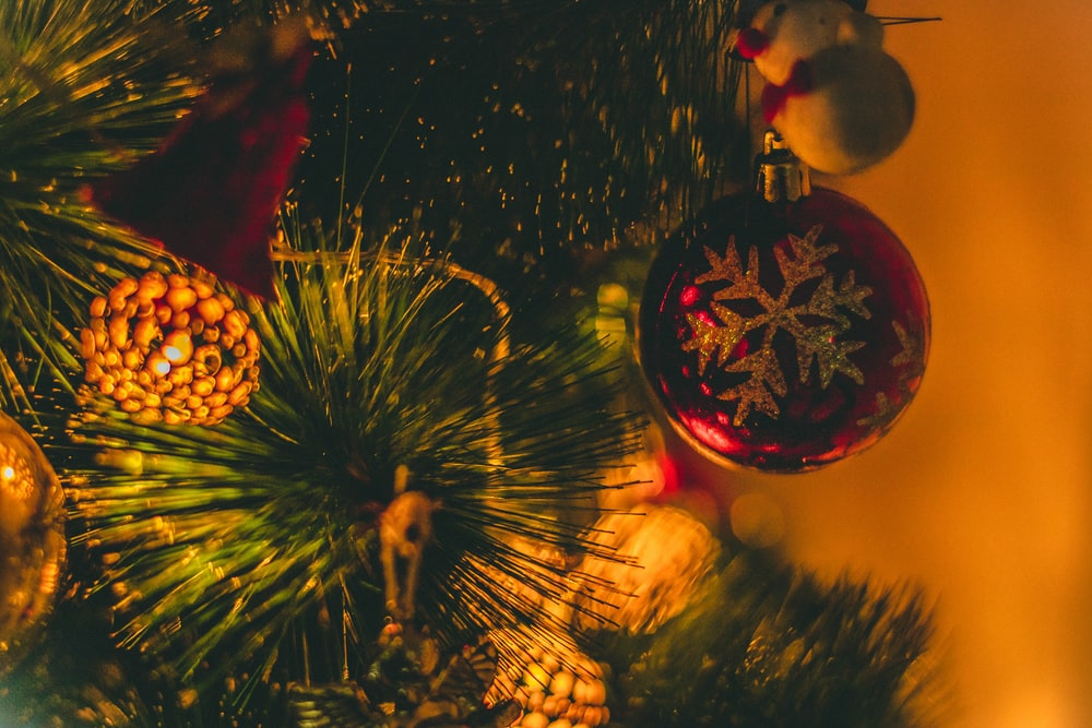 close-up photo of red Christmas baubles