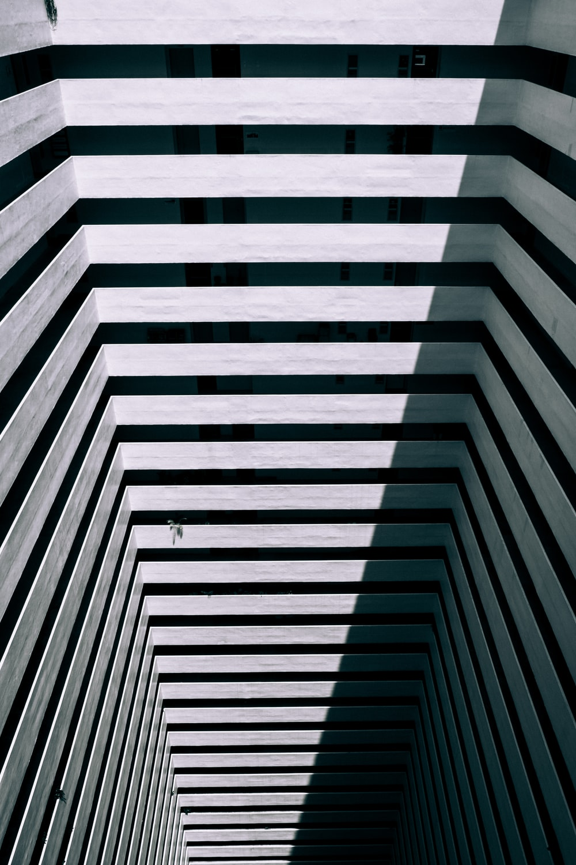 white and black concrete building interior