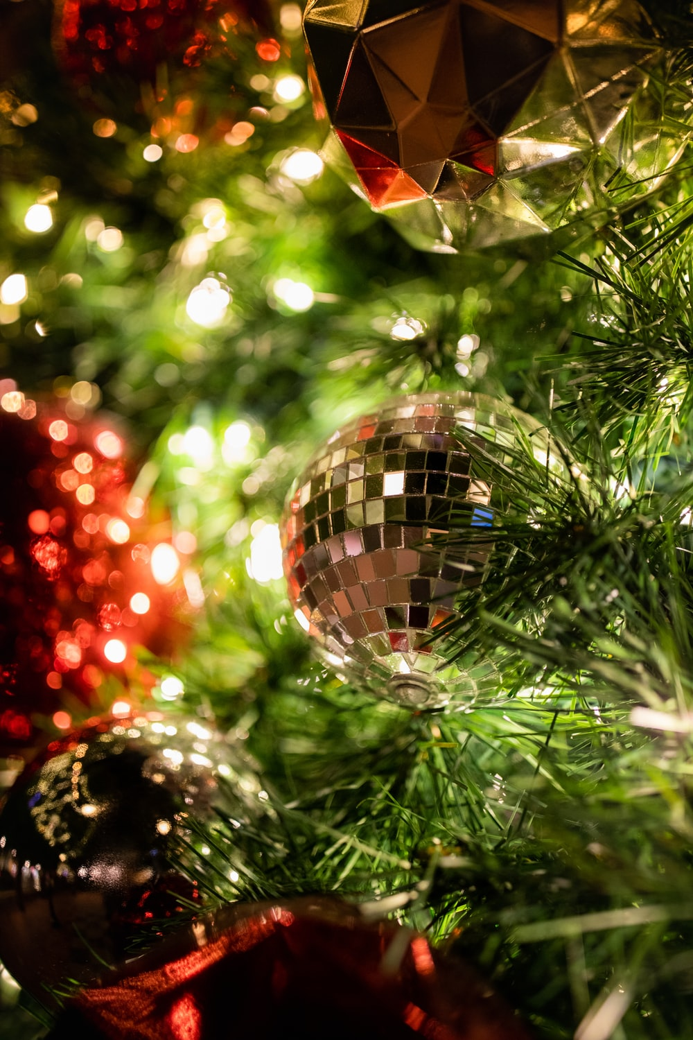 silver bauble ball on the christmas tree