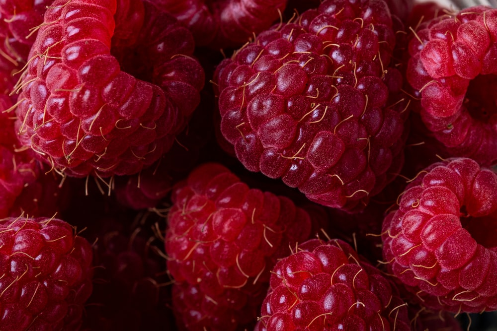 selective focus photography of red raspberries