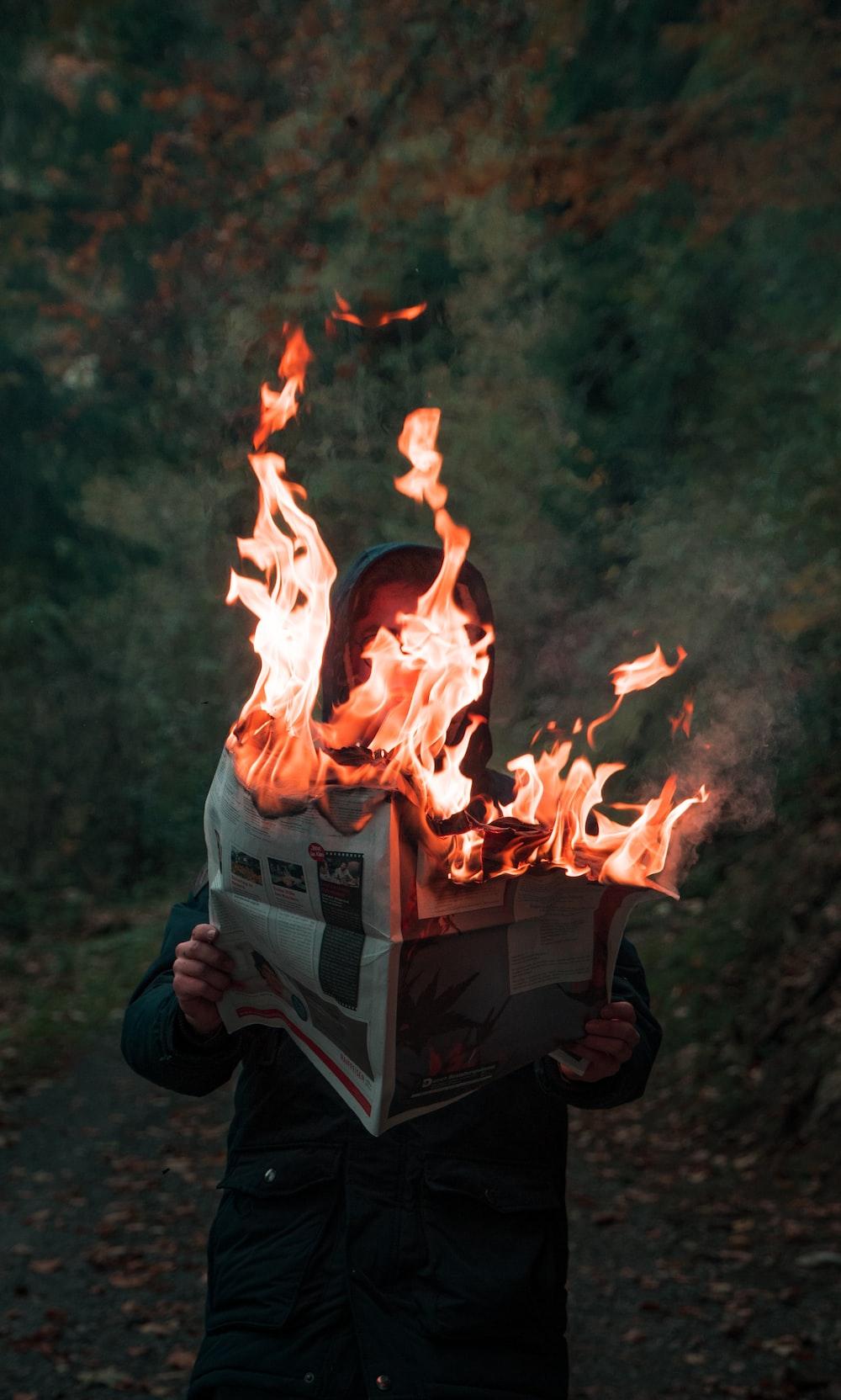 burning fire in gray box