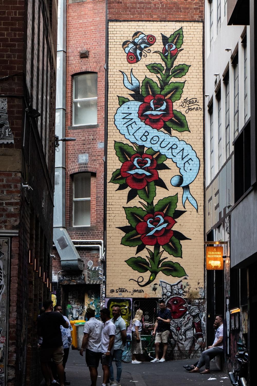 Melbourne red rose graffiti during daytime