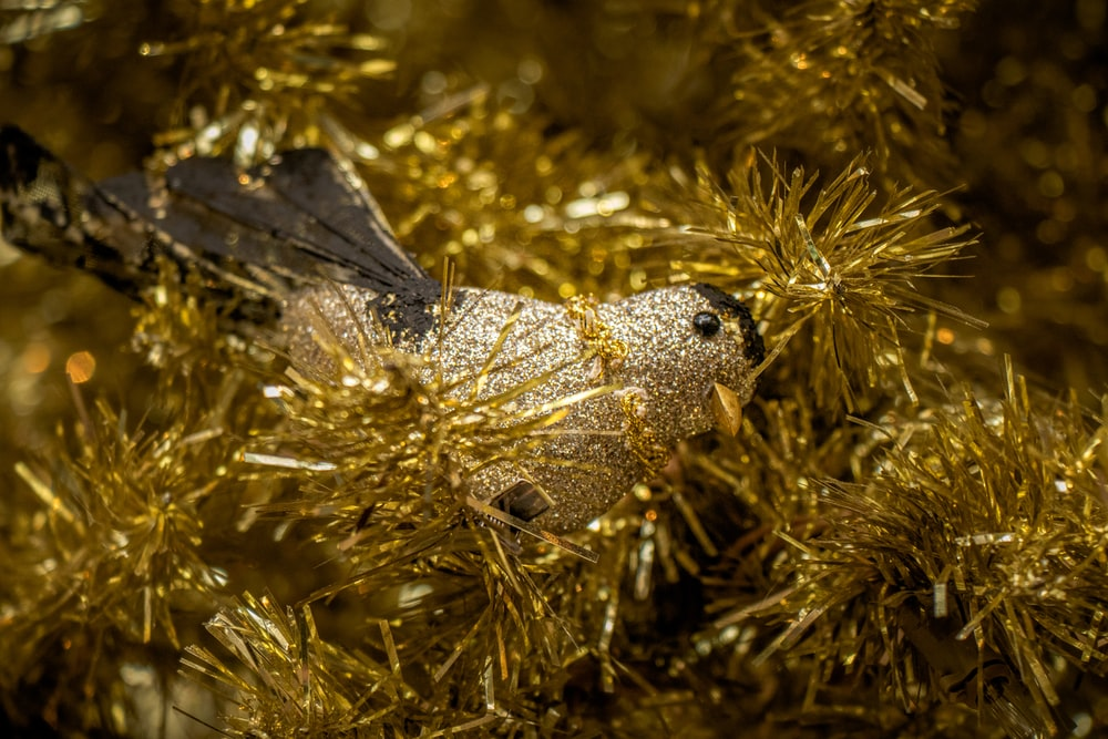 gold bird Christmas tree decor