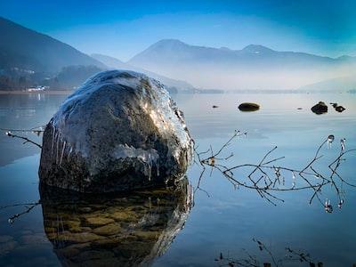 Frozen stone at lake Tegernsee Bavaria