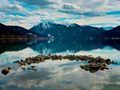 Silent moment in winter at the lake Tegernsee