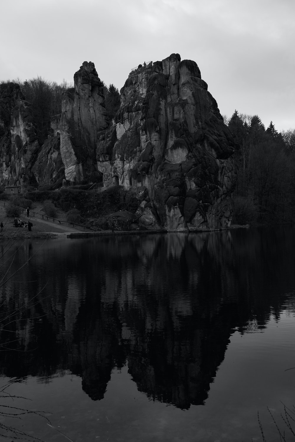 grayscale photo of mountains during daytime