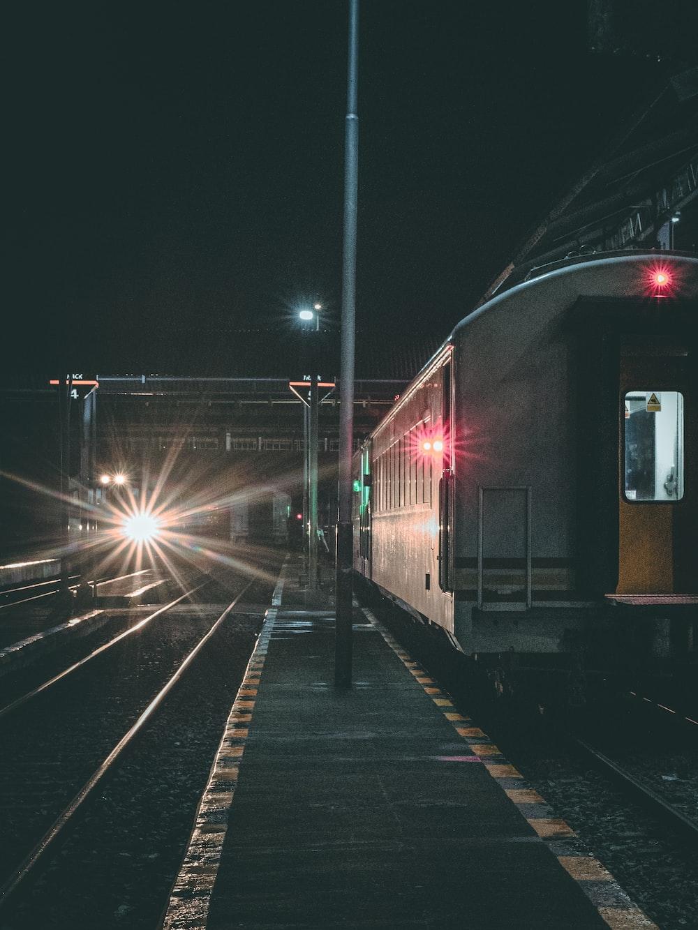 shallow focus photo of white train