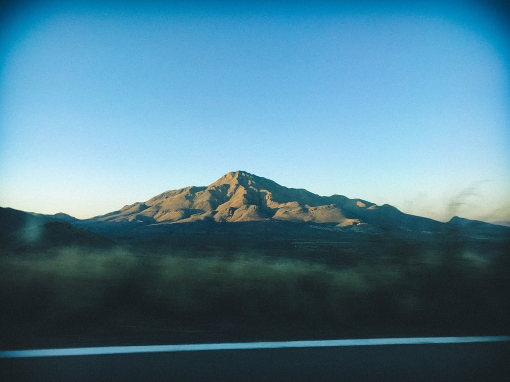 in distant photo of mountain