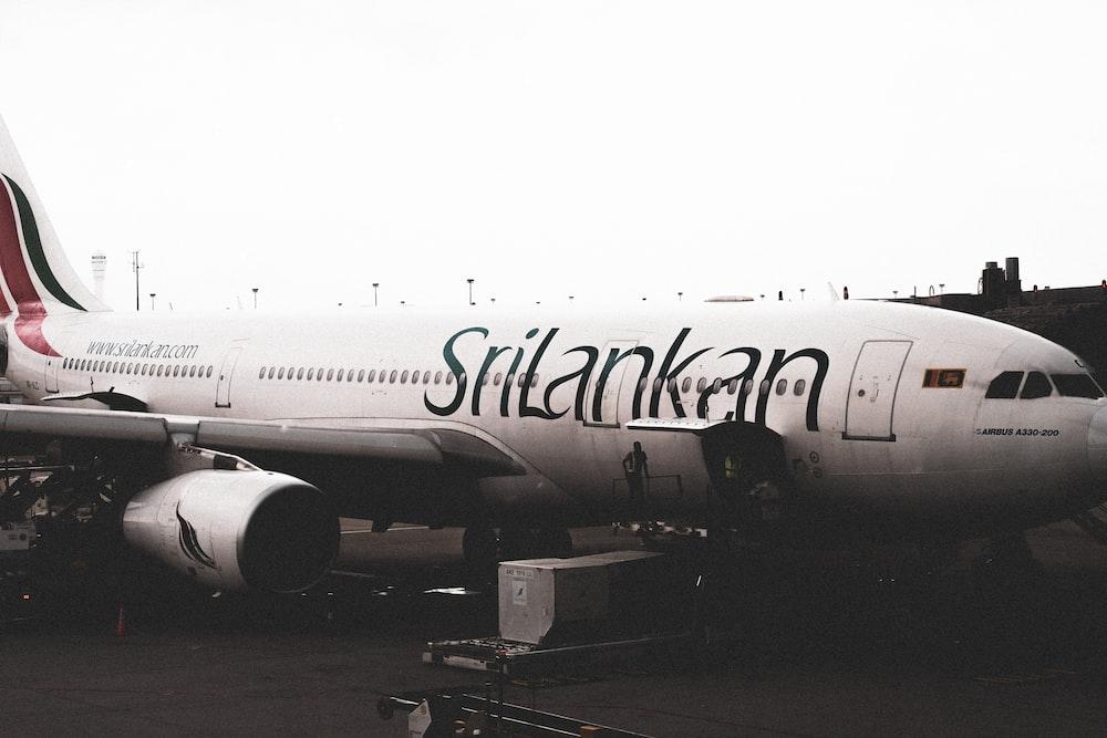 white Srilankan airplane