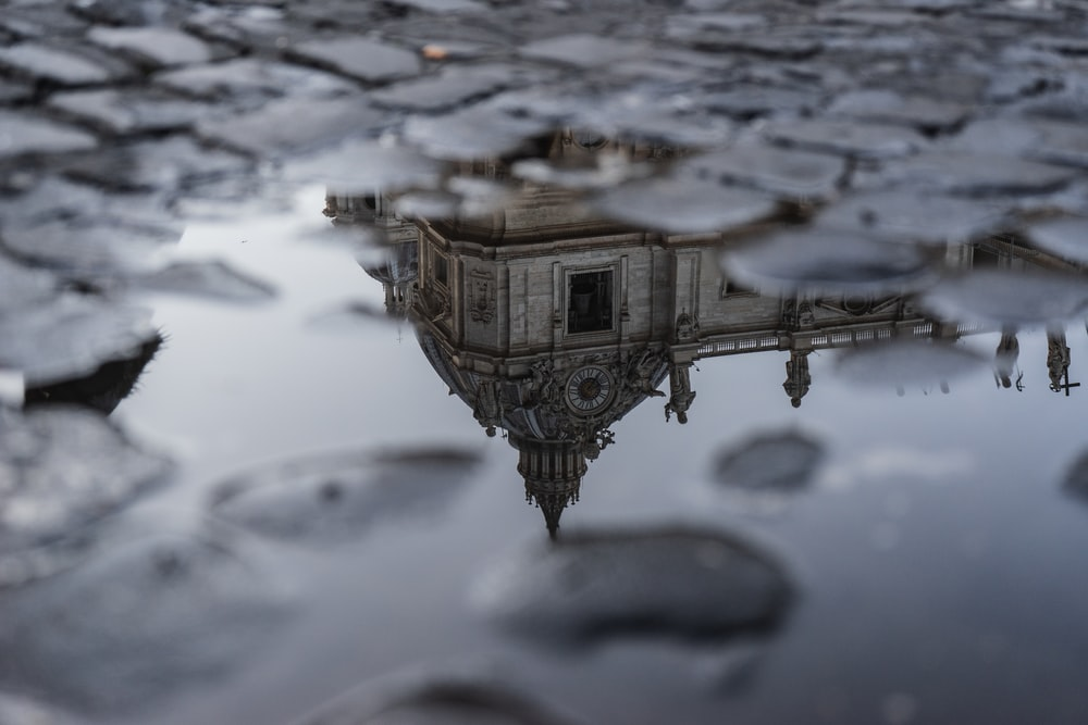 photography of brown building reflecting on body of water