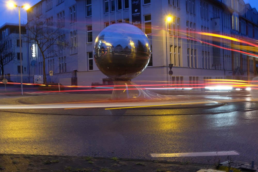 round gray sculpture