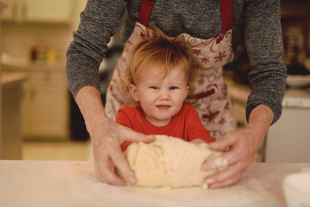 boy making dough