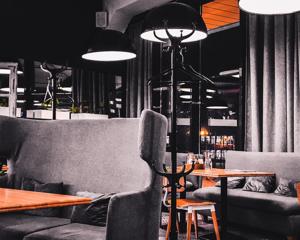 lighted floor lamp inside restaurant building