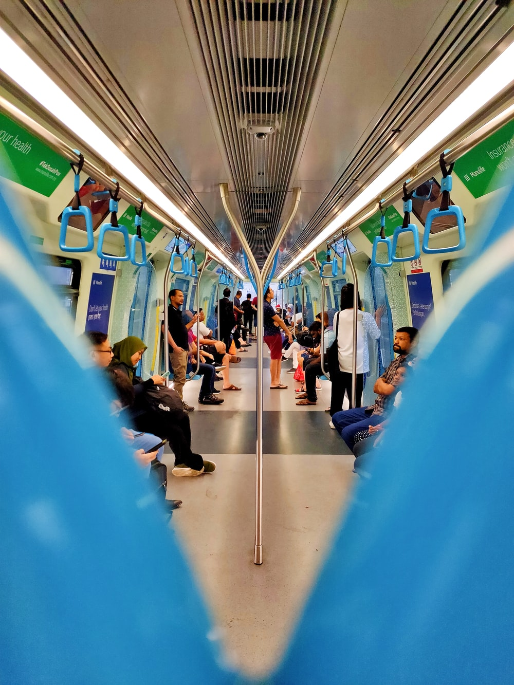 people riding inside train