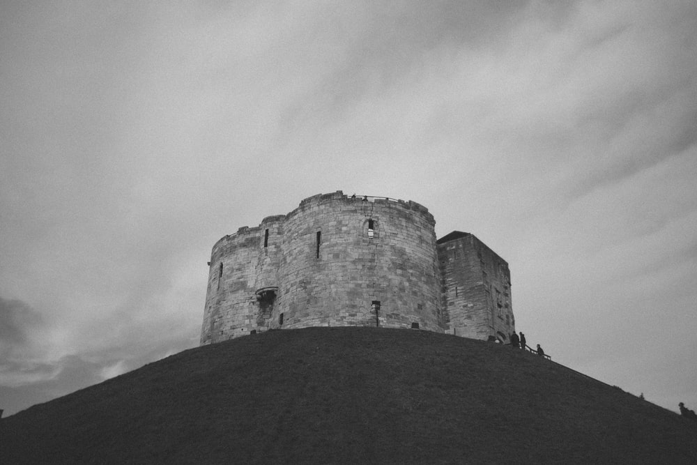 grayscale photography of castle