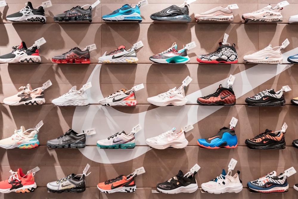 displayed basketball shoes