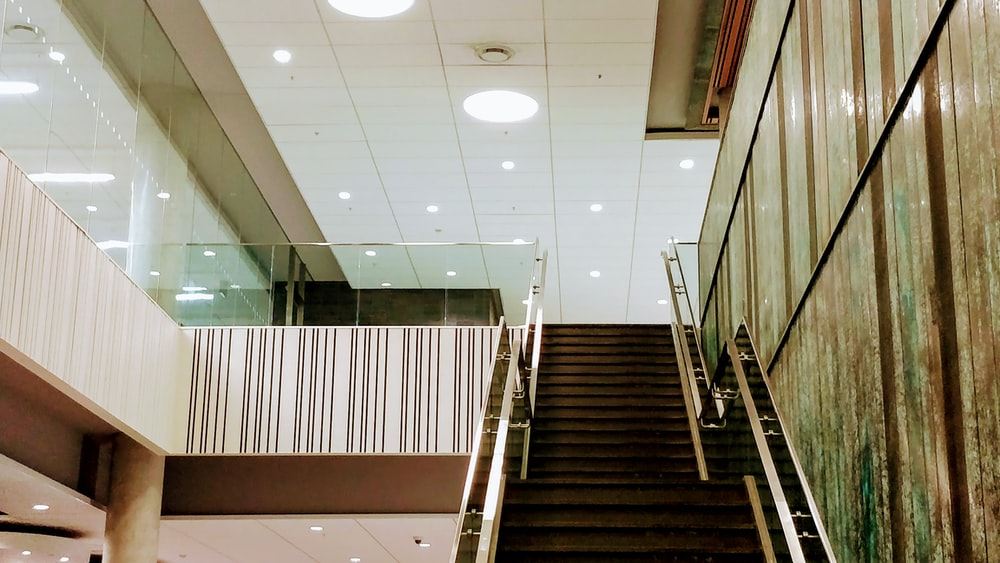 empty gray concrete stairs