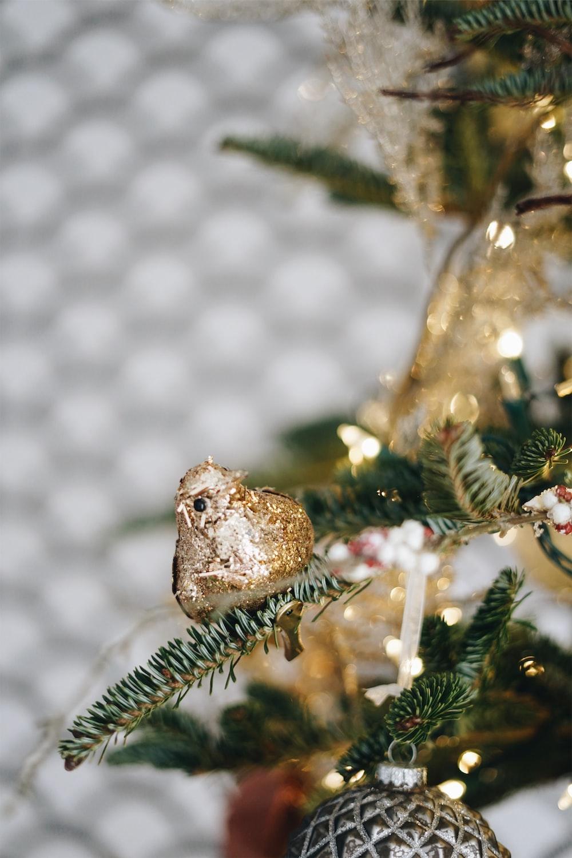 gold bird Christmas tree decor