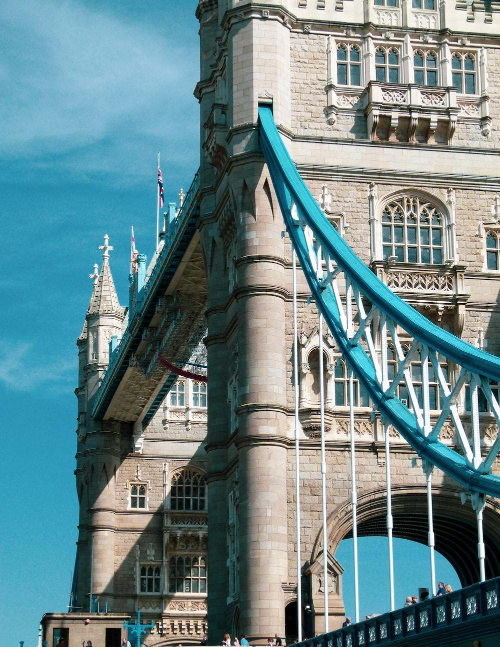 blue and white suspension bridge