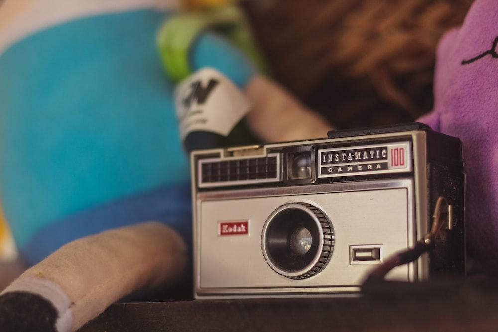 gray film camera on table