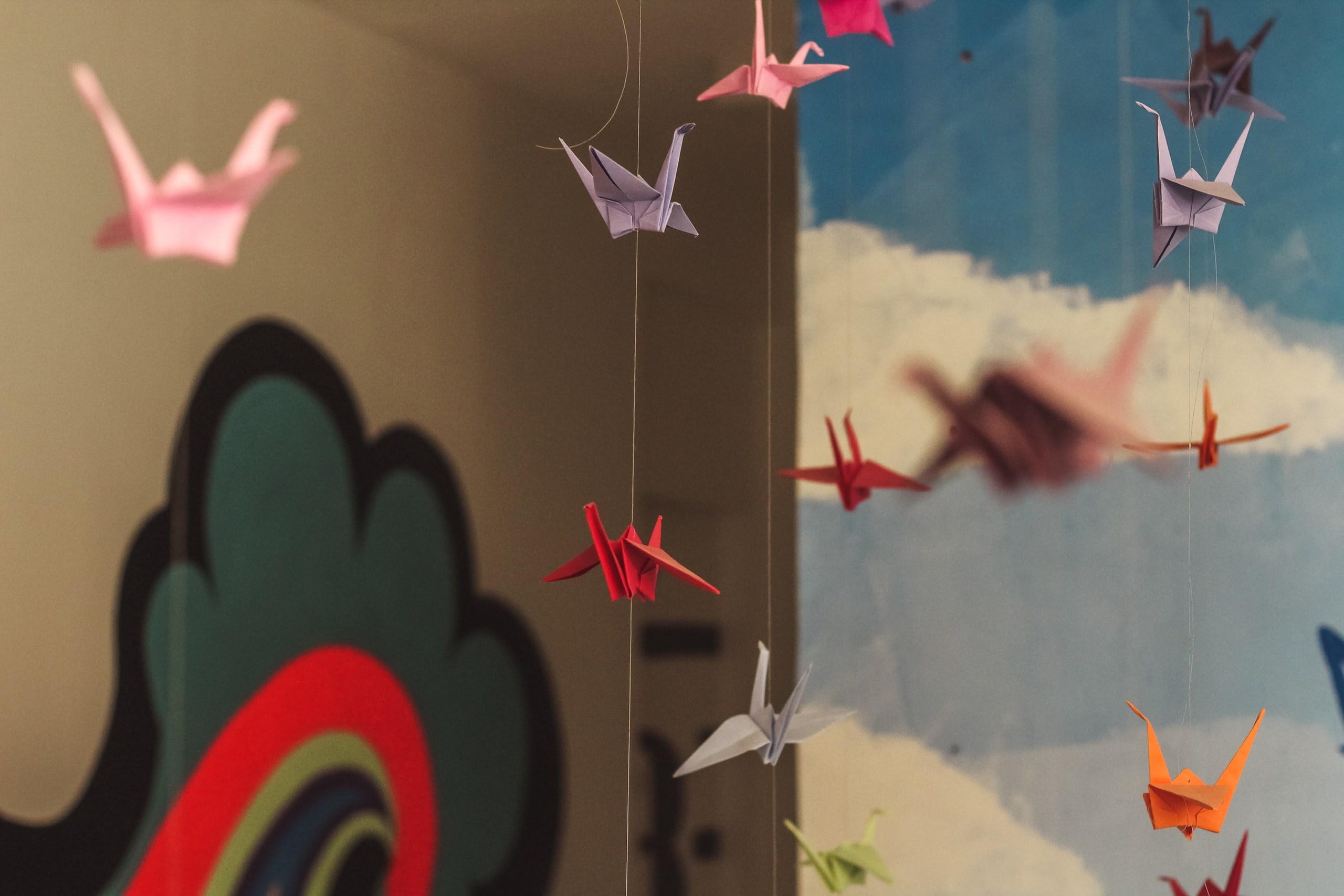 hanging origami birds