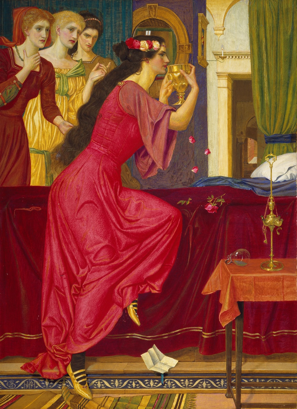 woman drinking with three women near bed