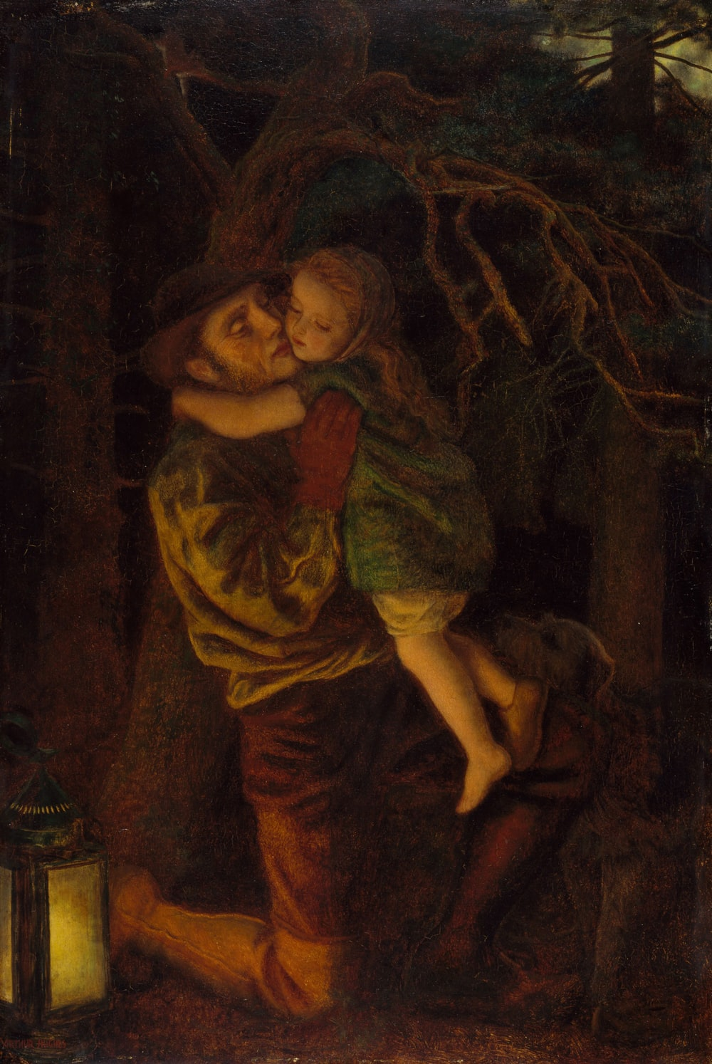 father and child beside bare tree painting