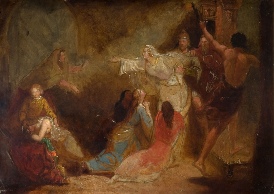 Elgiva seized by order of Archbishop Odo, 1847. By John Everett Millais