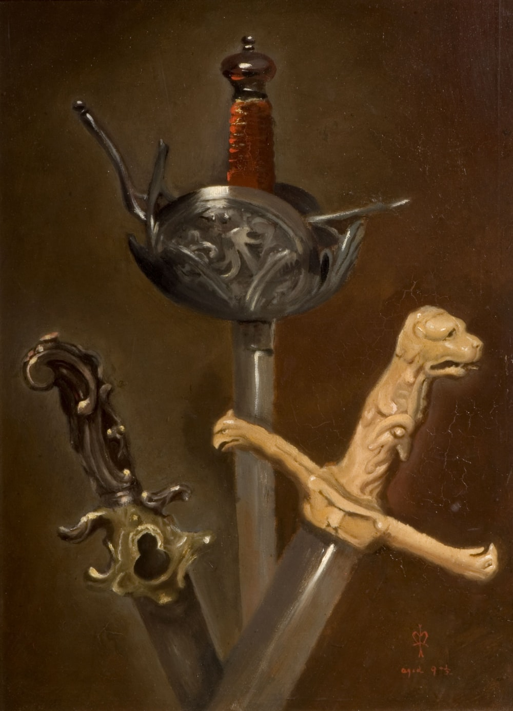 three assorted-color swords
