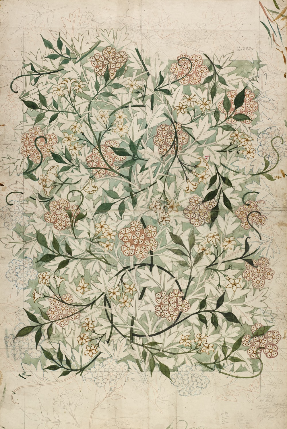 green and white floral textile