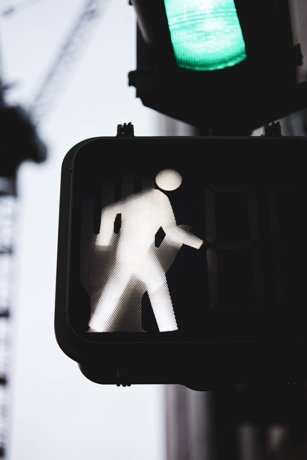 traffic light displaying walk