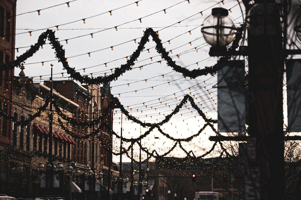 string lights during daytime