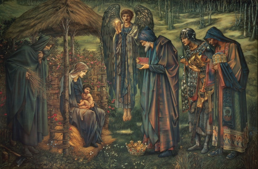 birth of Jesus Christ with three kings and angel painting